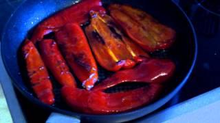 Вкусный жареный перец  на зиму видео рецепт. Закуска из болгарского перца