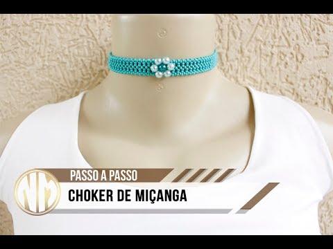 NM Bijoux - Choker de Miçanga com flor de...