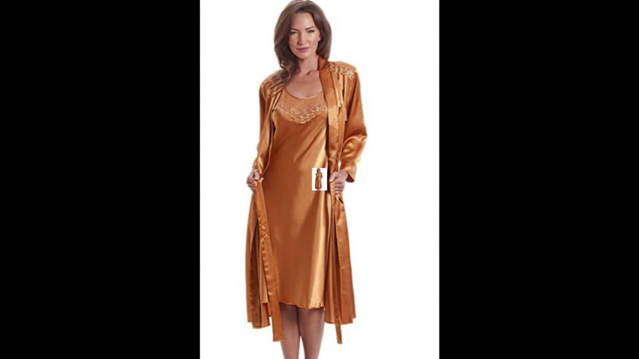 c5b388b55e Camille Luxury Womens Ladies Satin Gold Wrap And Chemise Set 14 16 GOLD