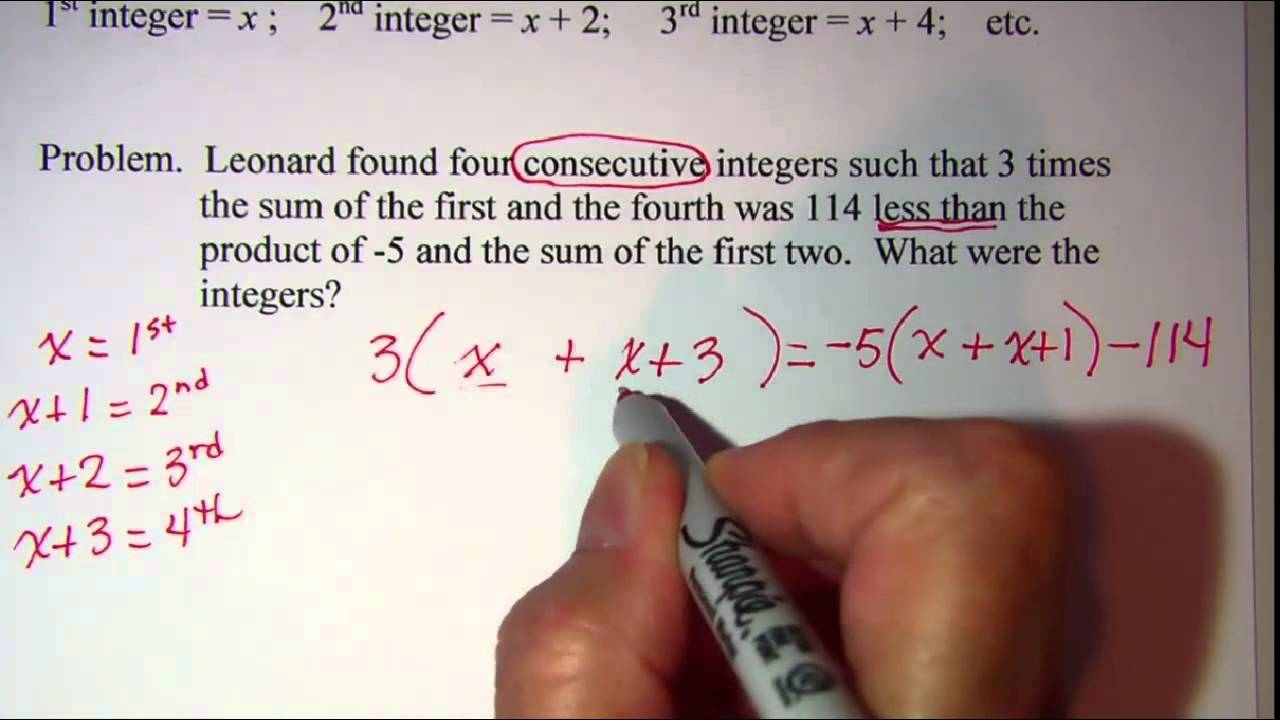 Consecutive Integer Word Problems 2 YouTube – Integers Word Problems Worksheet