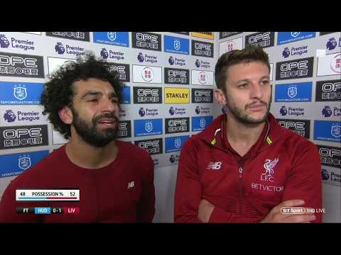 Mo Salah and Adam Lallana post-match interview after 1-0 win vs Huddersfield