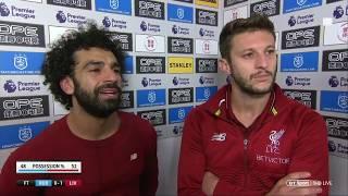 Mo Salah and Adam Lallana post-match interview after 1-0 win vs Huddersfield