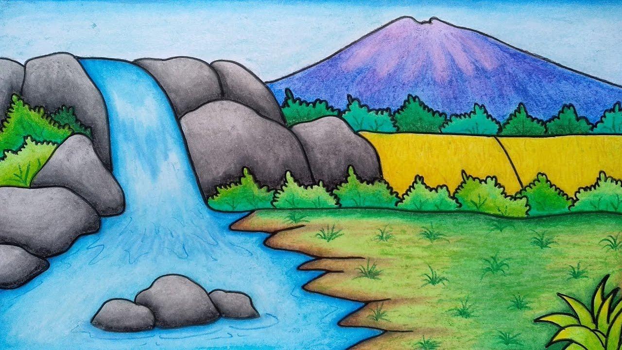 Menggambar pemandangan gunung dan air terjun || Belajar menggambar dan mewarnai dengan mudah