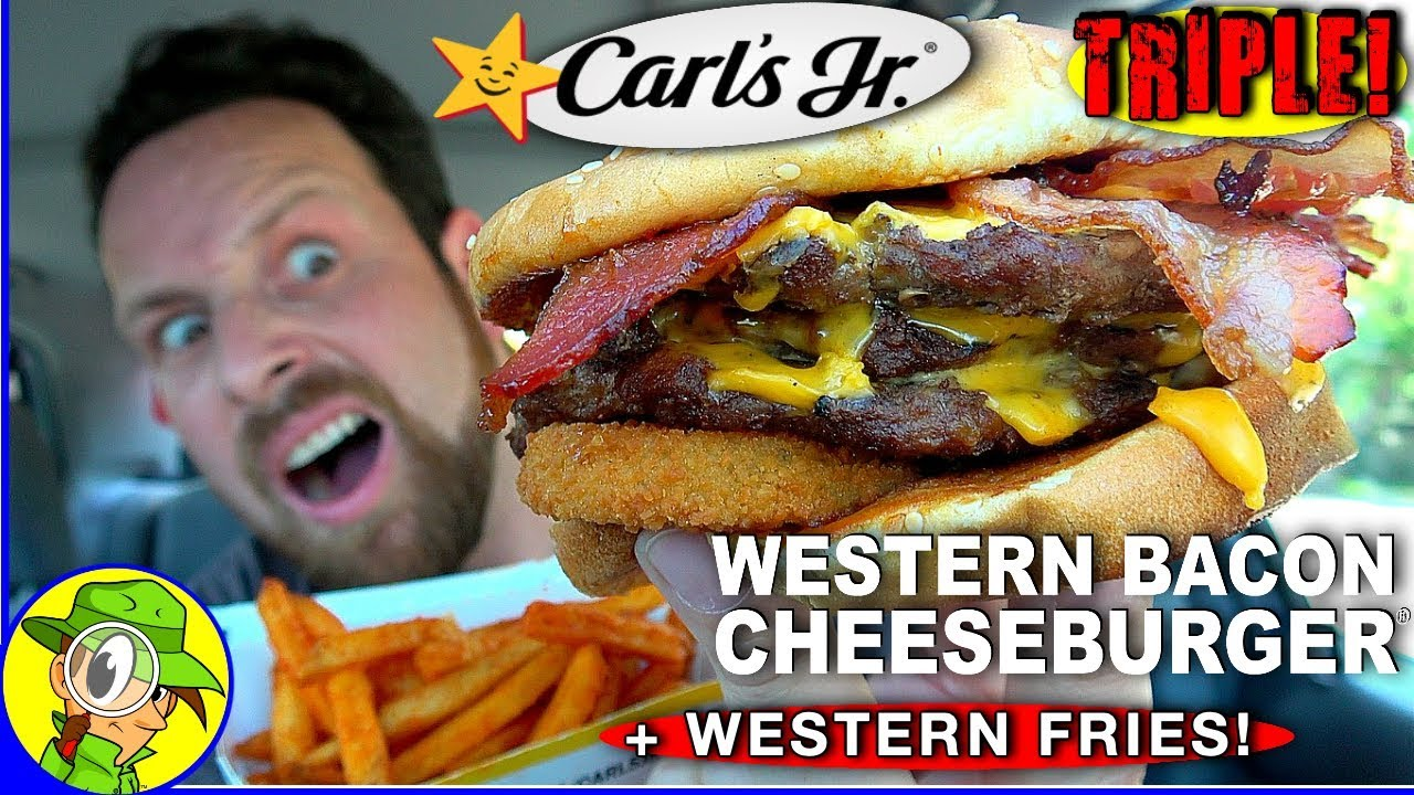 Carl S Jr Triple Western Bacon Cheeseburger Western Fries Review Peep This Out Youtube