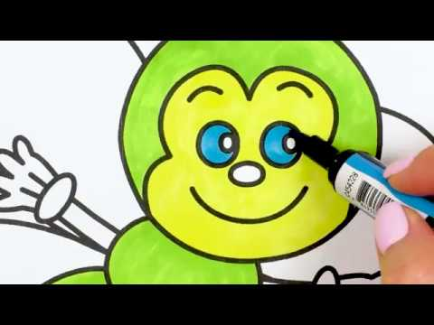 How to draw a Butterfly - Coloring for Kids / Tic Tac Paint