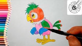 Как нарисовать попугая Кешу карандашом - Рисование и раскраска для детей