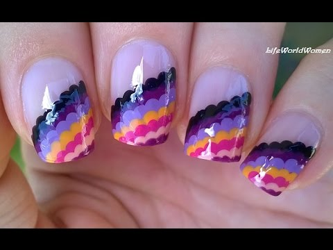 Summery DOTTING TOOL NAIL ART - Colorful Side French Nails ...