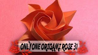 達人折りのバラの折り紙31 Only one origami rose31