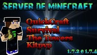 Repeat youtube video Server de minecraft 1.7.2 e 1.7.4 - Kitpvp, Facção, HG, Skyblock, Skywars, QuackCraft e etc.