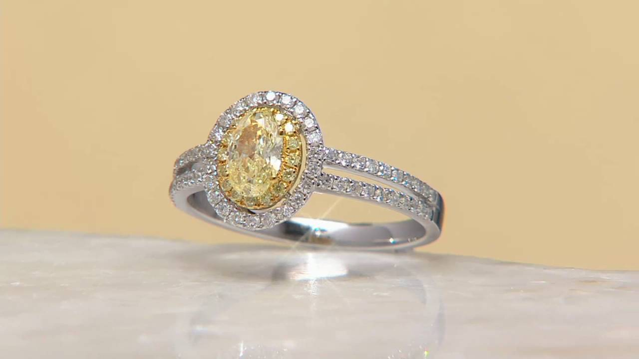 Natural Yellow & White Diamond Ring, 14k Gold, 100 Cttw, By Affinity On Qvc