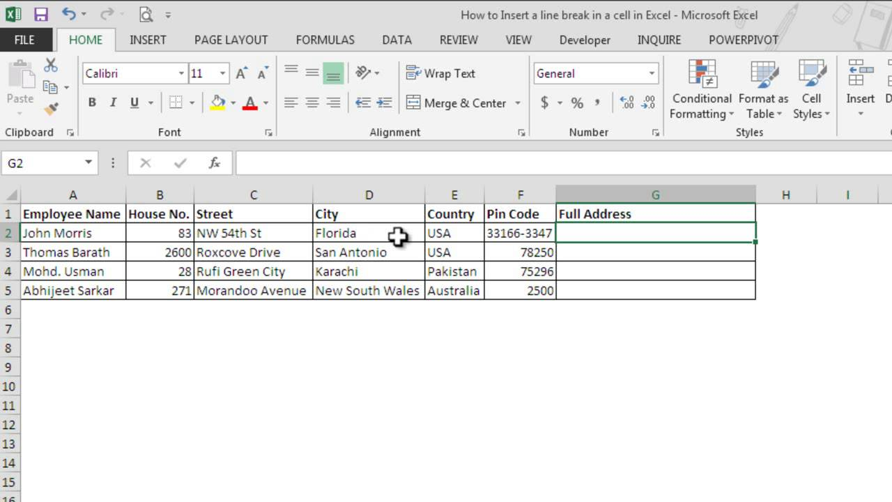how to write on multiple lines in one cell excel