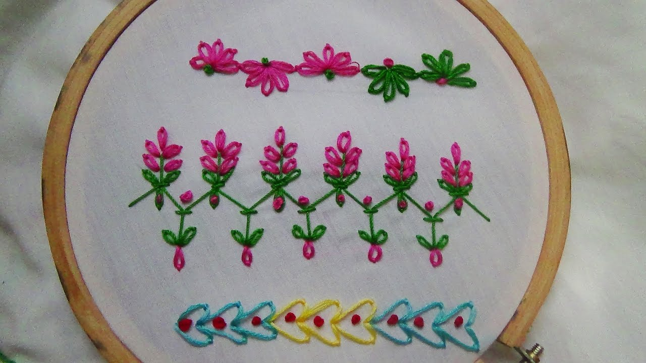 Hand Embroidery Beginner Stitches Border Stitch And More Youtube