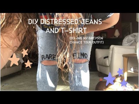 DIY DISTRESSED JEANS AND T-SHIRT (diy-ing my Greyson Chance concert outfit)