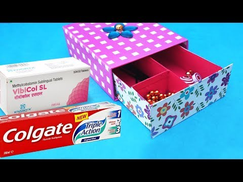 Easy Best Out Of Waste Craft Idea from Toothpaste Box | DIY Organizer | Recycling Paper Boxes