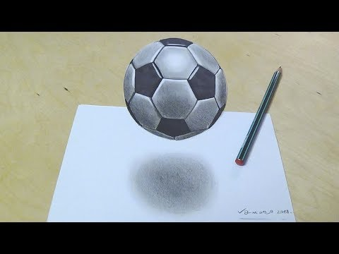 How to Draw Soccer Football - Drawing 3d Floating Soccer Ball - Vamos