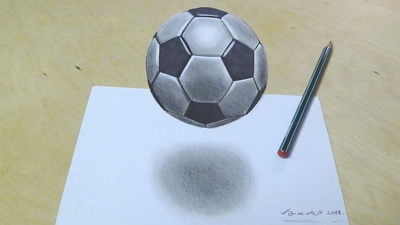 How to Draw Soccer Football - Drawing 3d Floating Soccer ...