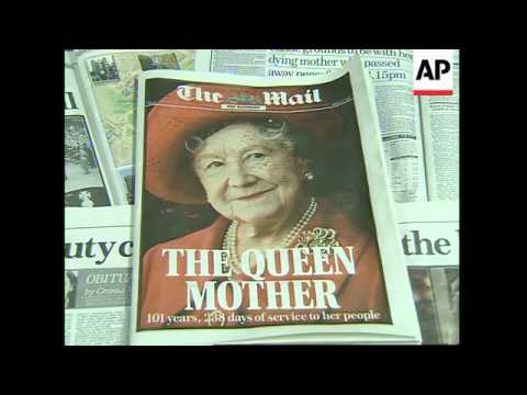 Scene at Queen Mother's residence, newspaper headlines