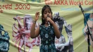 Saanika - AKKA Idol 2010 Finals - Poojisalende Hoogala Tande - Eradu Kanasu (Kannada) @ WKC 2010