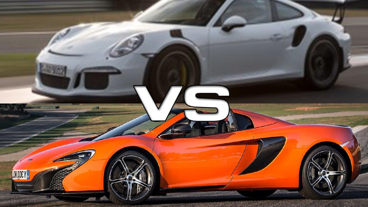 2015 mclaren 650s spyder vs 2016 porsche 911 gt3 rs youtube. Black Bedroom Furniture Sets. Home Design Ideas