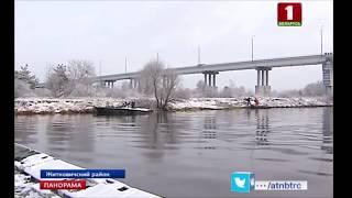 В Житковичском районе начал работу понтонный мост через р. Припять. Панорама