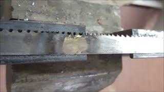 Saldobrasatura di una lama per sega a nastro - welding a band saw