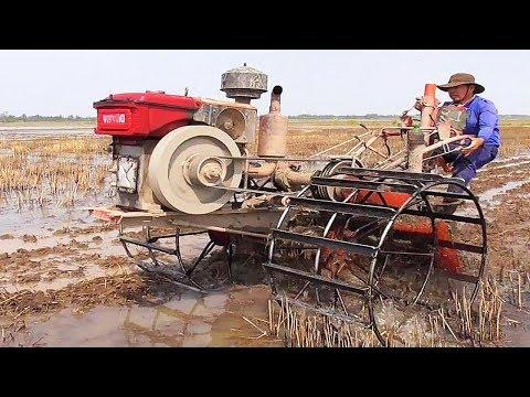 Máy xới con gác đầu động cơ VIKYNO xới ướt đất gốc rạ máy chạy quá khỏe quá nhẹ luôn / Mini tractor