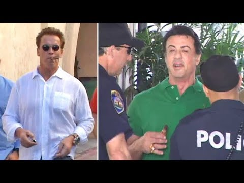 Sly Stallone Swarmed By Cops After  Lunch With Arnold Schwarzenegger [2009]