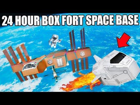 24 HOUR BOX FORT SPACE BASE CHALLENGE!!   Visiting A Planet, Box Fort Lander & More!