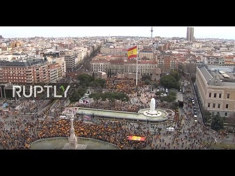 LIVE: Thousands protest in Madrid in reaction to Sanchez' Catalonia policies