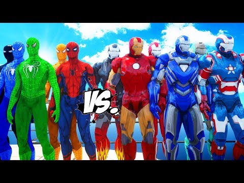IRON MAN ARMY Vs SPIDER-MAN, BLUE SPIDERMAN, GREEN SPIDERMAN, ORANGE SPIDERMAN, BLACK SPIDERMAN