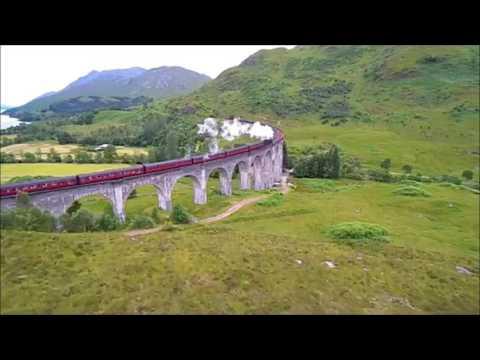 Scottish Highlands Train Crossing Glenfinnan Viaduct
