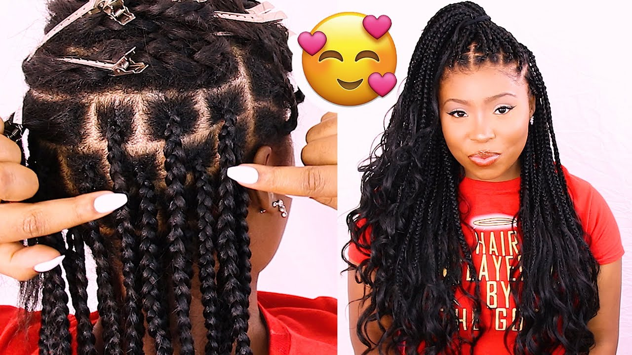 Hair Parting Method For Box Braids Knotless Box Braids Technique Youtube