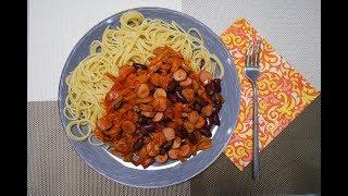 Овощное рагу с сосисками и фасолью - Быстро и вкусно!