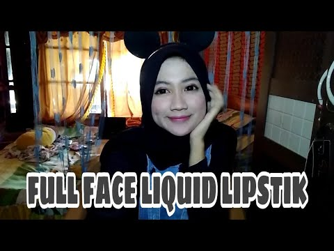 make-up-challange-  -ful-face-liquid-lipstik-  -auto-merah-merona-wkwk