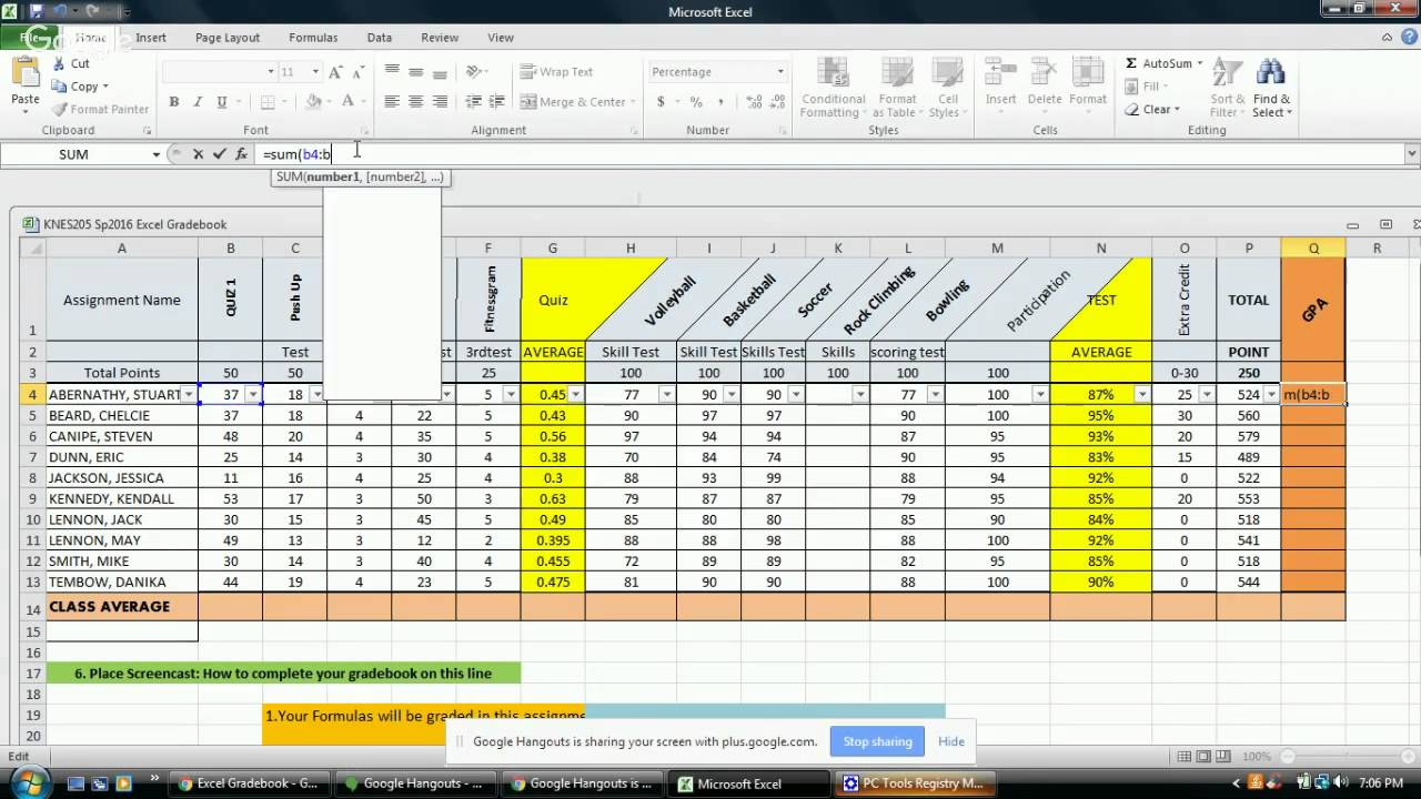Excel Gradebook - YouTube