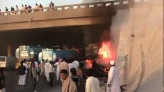 RIYADH KSA FIRE IN  CAR EXIT 5 22/2/2013 6:30AM