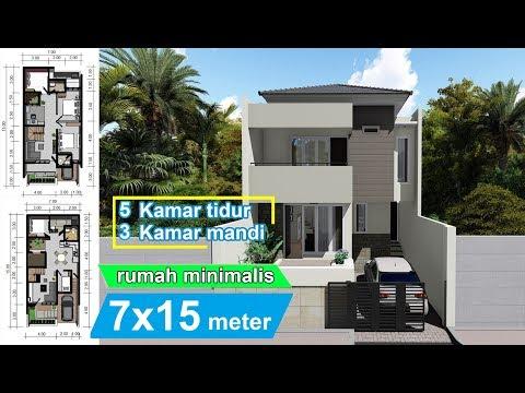 design rumah minimalis 7 x 15 meter youtube