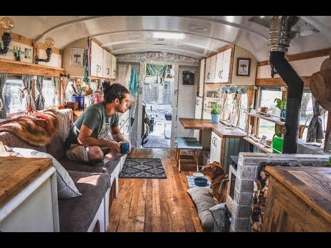 Couple Turns Prison Bus Into A PERFECTLY Designed DIY Skoolie ~ FULL TOUR