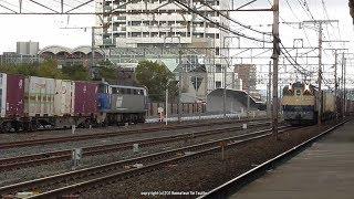 JR貨物 EF65 2070号機牽引の5087レとEF200 19号機牽引の2070レの離合(H31.2.20)