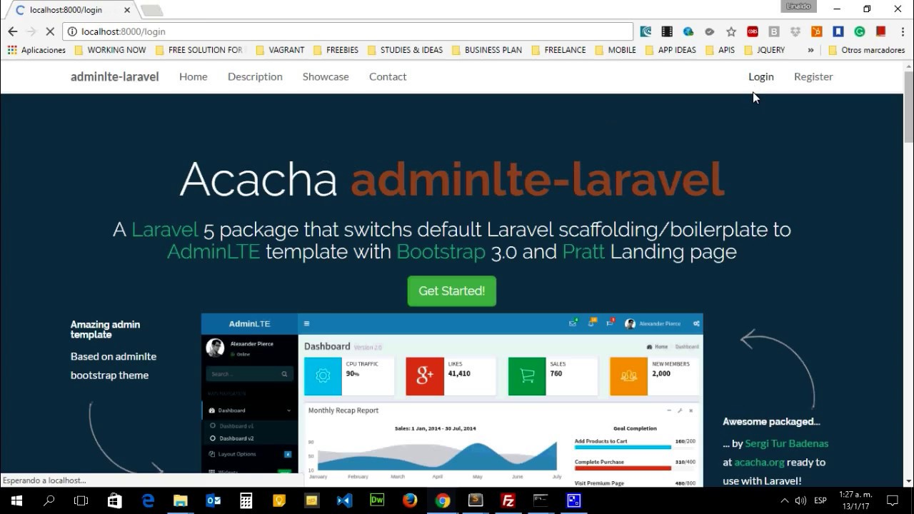 How to install laravel and adminlte