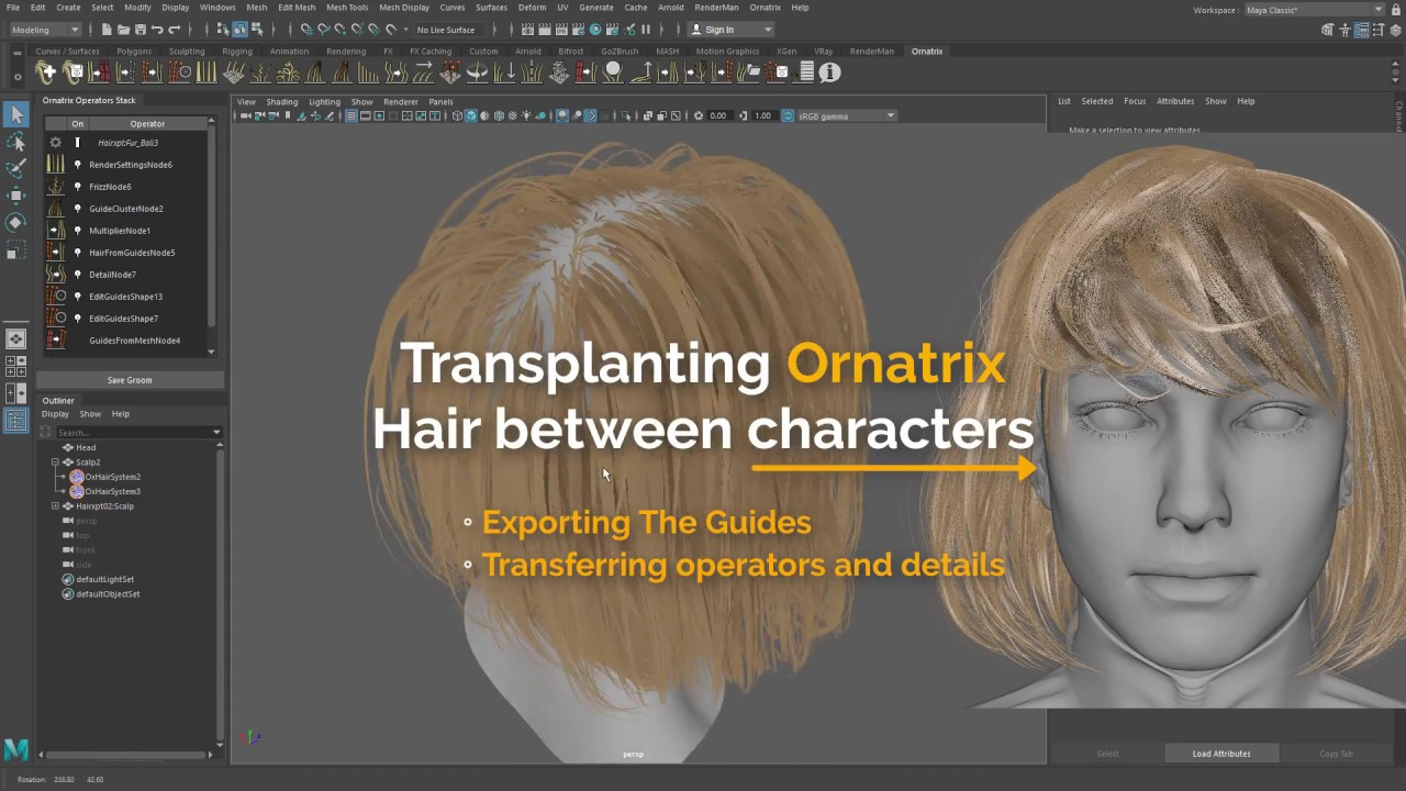Ornatrix for Maya: Transplanting Hair between characters