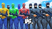 Spider-Man, Green Spiderman, Blue Spiderman, Yellow Spiderman, Black Spiderman VS RoboCop Army