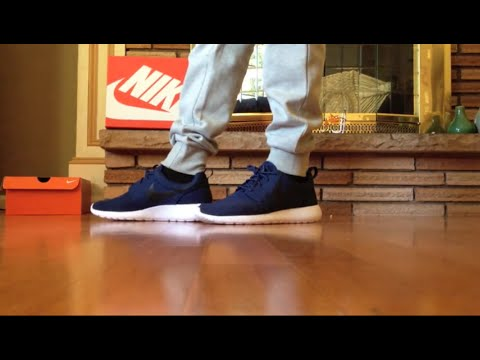 save off a487c c1fc2 Nike Roshe One Midnight Navy/Black-White On Feet