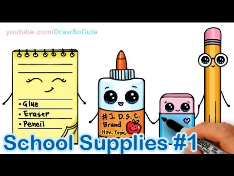 How To Draw School Supplies Cute And Easy 1 Youtube