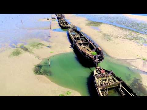 Abandoned wooden ships - Everett, WA 4k Phantom 3