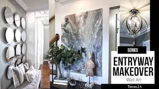 Diy Entryway Makeover   Marble Abstract Wall Art | Episode 5