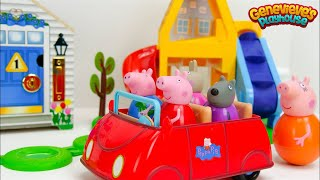 Best Preschool Toy Learning Video for Babies Peppa Pig Playground & Locking Dollhouse with Genevieve