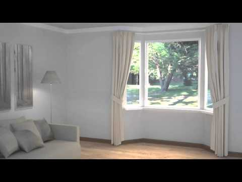 How To Dress Windows Bay Windows With Curtains Blinds Youtube
