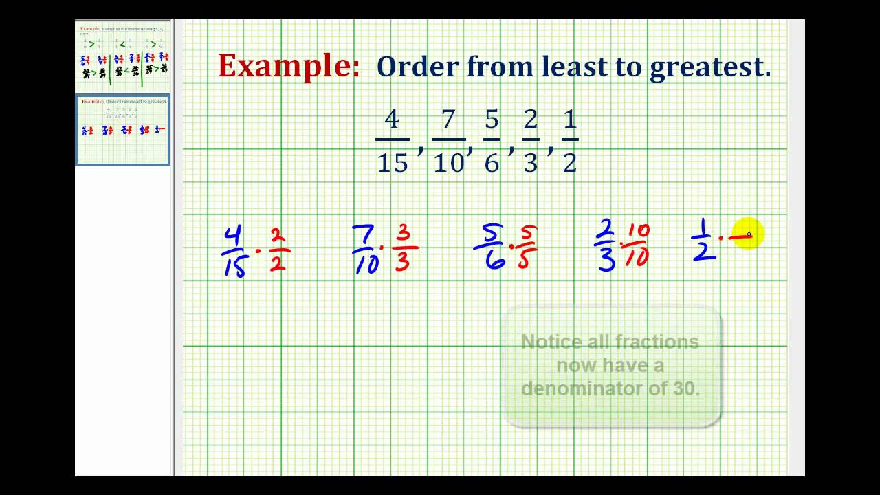 example ordering fractions with different denominators from least  example ordering fractions with different denominators from least to  greatest  youtube
