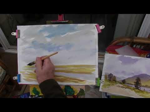 Watercoloring looking across a Norfolk field